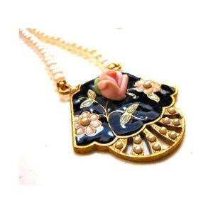Vintage Cloisonne Faux Pearl Pendant Necklace